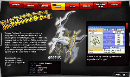 Arceus info at Pokemon.com