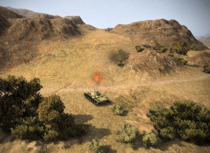 Starting up the hill, StuG up ahead