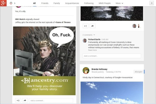 My view of Google Plus at the moment