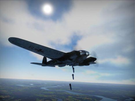 He-111 raining bombs