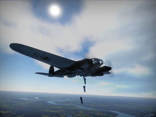 He-111 raining bombs
