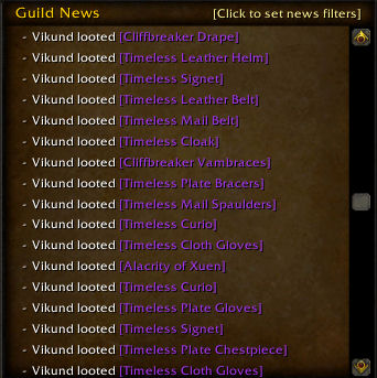 Our guild log shows I was busy...