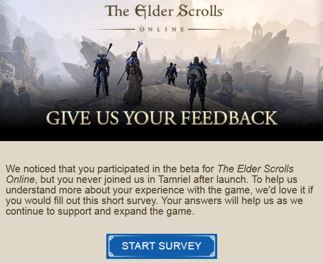 The Elder Scrolls Online Wants My Opinion, But Only if I am