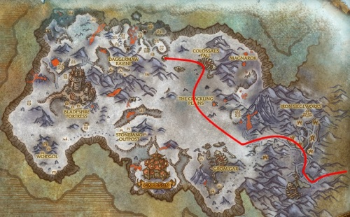Our path across Frostfang Ridge