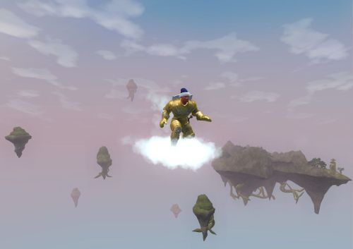 Riding the cloud mount back to the quest starter