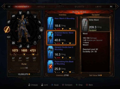 Diablo III inventory screen