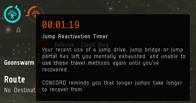 Jump Fatigue timer counting down...