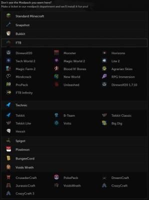 Mod Packs listed...