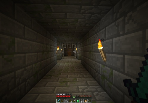 In a dungeon... torches added by me