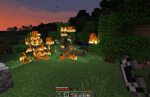 Still burning that night