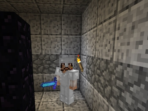 An armored, blocky, Jack Sparrow in the nether