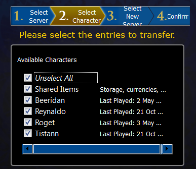 Select characters to transfer...