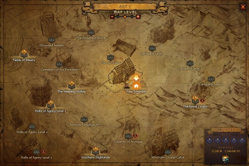 The Act I map for Adventure Mode