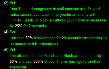 Thorns of the Invoker set bonuses