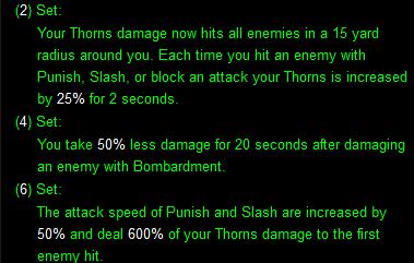 Thorns of the Invoker set bonuses