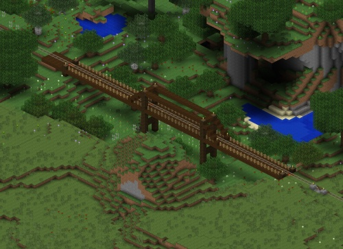 A wooden bridge to cross a valley