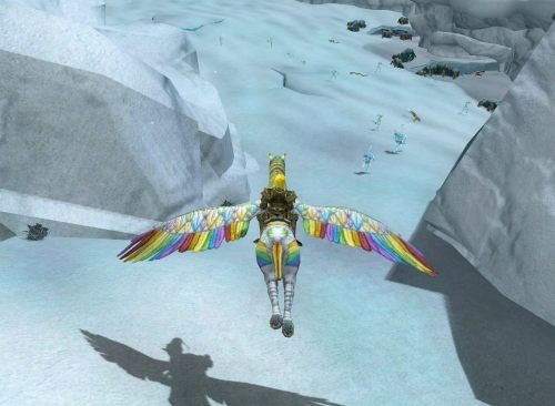 New mount, wings spread