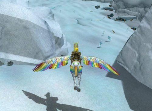 New mount, wings spread