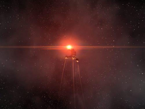 Undocking into the red light of 2R-CRW's star