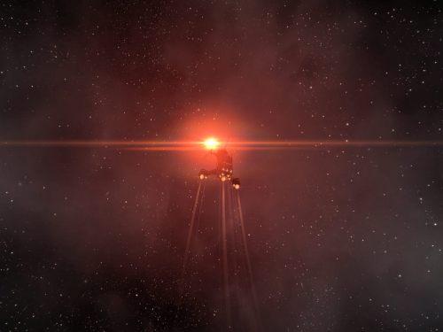 Undocking into the red light of 2R-CRW's star