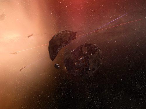 The broken orange crystal asteroid, the center piece of all forsaken hubs