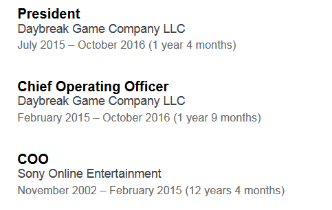 Long time COO of SOE and Daybreak