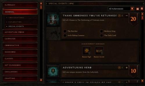New Achievements under General