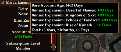 My current account age