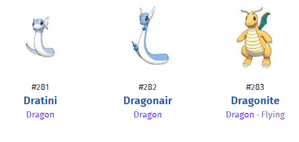 Dratini to Dragonair to Dragonite